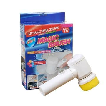 5 in 1 MAGIC CLEANING BRUSH SET with HOLDER and 3 PADS kitchen bathroom tiles